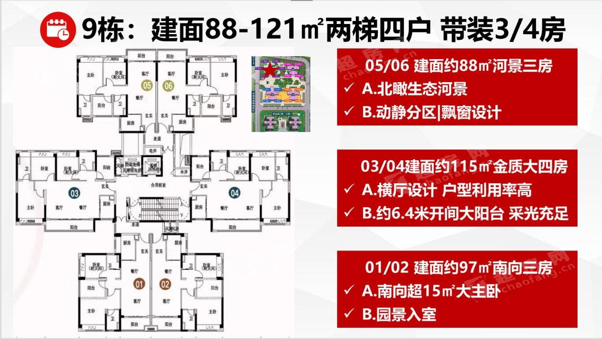 碧桂園鳳凰灣(新房)新房88-121 4室2廳2衛戶型圖