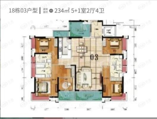 唯美臻岸華府(新房)新房1 6室2廳4衛戶型圖