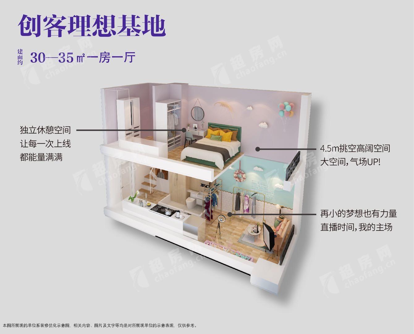 里城晴樾中心(新房)新房01 1室1廳1衛戶型圖