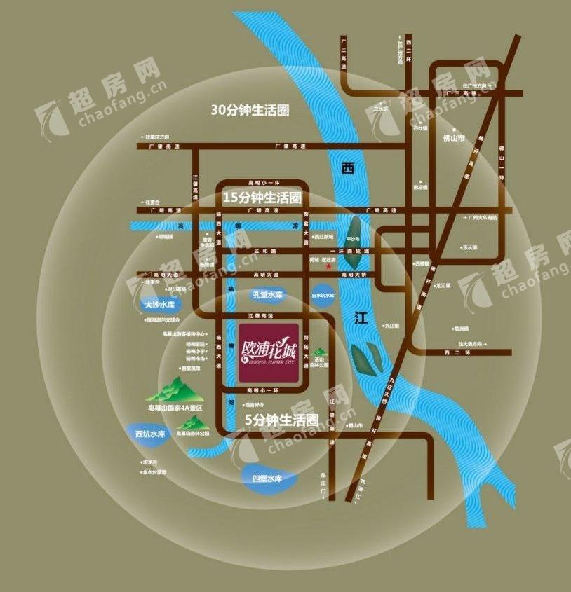 歐浦花城(新房)新房交通圖
